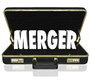 Merger Word Business Briefcase Combine Companies Offer Proposal. Merger word in black leather briefcase opening to reveal a proposal or offer to merge two or Stock Image