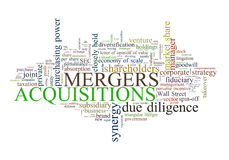 Mergers and Acquisitions. A cloud of words related to the business trend called merger and acquisition on white background Stock Images