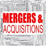 Mergers and acquisitions word cloud vector illustration