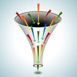 Merging Arrows Funnel Icon. An image of a 3d funnel icon with merging arrows Royalty Free Stock Photos