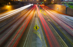 Merging Freeway traffic at night Royalty Free Stock Image