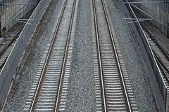 Merging railway tracks Royalty Free Stock Images
