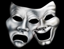 Merging theater masks. Stylized illustration of two theater masks merged into one Stock Images