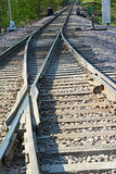 Merging Tracks. Two railroad lines merging into one Stock Images