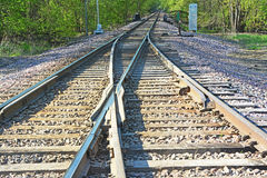 Merging Tracks 2. Two railway lines merging into a single line Royalty Free Stock Photos