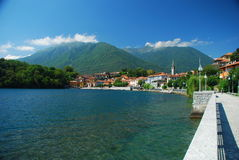 Mergozzo lakeside village, Piedmont, Italy. The lake promenade of Mergozzo, Italy stock photography