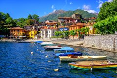Mergozzo old town, Lago Maggiore, Italy. Colorful houses in the old town of Mergozzo, a popular holiday resort on Lago Maggiore lake, Italy stock photo