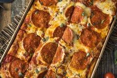Merguez casalinghe Pan Pizza siciliano Fotografia Stock Libera da Diritti