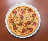 Merguez della pizza Fotografia Stock