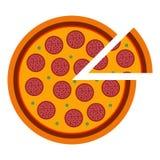 Merguez italiane della pizza nello stile piano vector l'illustrazione di pizza affettata isolata su fondo bianco Insieme di illustrazione vettoriale