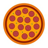 Merguez italiane della pizza nello stile piano vector l'illustrazione di pizza isolata su fondo bianco Insieme di pizza different illustrazione vettoriale