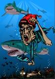 Mergulhador com tubarões Fotos de Stock Royalty Free