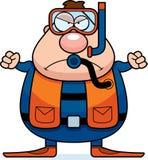 Mergulhador de mergulhador Angry dos desenhos animados ilustração stock