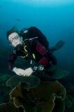 Mergulhador de mergulhador da mulher fotos de stock royalty free