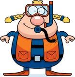 Mergulhador de mergulhador Smiling dos desenhos animados ilustração royalty free