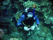 Mergulhador dentro profundamente imagem de stock