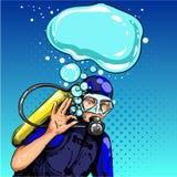 Mergulhador do pop art do vetor que mostra o sinal aprovado da mão Imagens de Stock Royalty Free