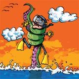 Mergulhador dos desenhos animados atacado pelo tentáculo ilustração royalty free