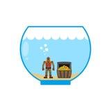 Mergulhador e arca do tesouro no aquário Figuras diminutas na água Fotografia de Stock Royalty Free