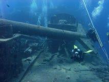 Mergulhador em Thistlegorm Fotos de Stock