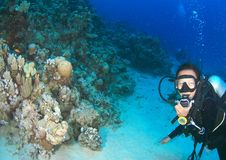 Mergulhador - menina de sorriso debaixo d'água imagens de stock