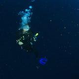 Mergulhador - menina de sorriso debaixo d'água imagens de stock royalty free