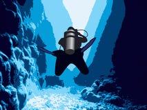 Mergulhador na caverna. Imagens de Stock