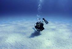 Mergulhador sobre a areia branca Fotos de Stock