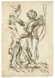Mergulhador - uma ilustração tirada mão no estilo do vintage ilustração do vetor