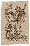 Mergulhador - uma ilustração tirada mão no estilo do vintage ilustração stock