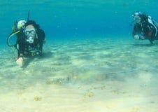 Mergulhadores que olham o raio manchado azul na areia fotografia de stock royalty free