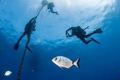 Mergulhadores sob o barco pelo tempo do deco no azul Fotos de Stock Royalty Free