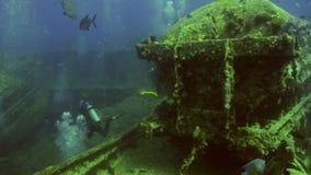 Mergulho autônomo perto da embarcação oxidada da carga do naufrágio subaquática video estoque