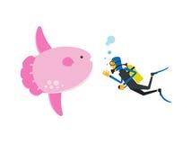 Mergulho autônomo com sunfish, ilustração do vetor Fotografia de Stock