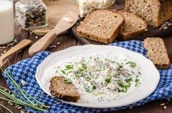 Mergulho caseiro do iogurte com queijo azul e cebolinha Imagem de Stock