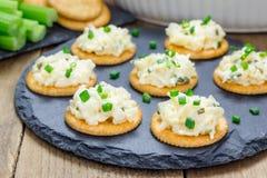 Mergulho cozido do caranguejo, servido com varas de aipo e biscoitos Fotos de Stock Royalty Free