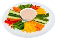 Mergulho da salada verde e do molho imagens de stock