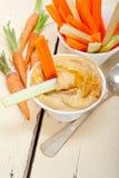 Mergulho fresco do hummus com cenoura e aipo crus Fotografia de Stock