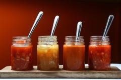 Mergulhos e molhos mexicanos do alimento em umas garrafas Fotos de Stock Royalty Free