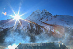 Merha peak flare sunlight cabin  from everest trek route Royalty Free Stock Photos
