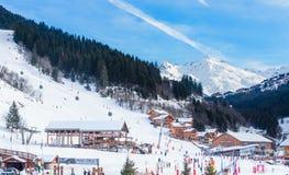 Meribel Ski Resort, centre de village de Meribel (m) 1450 Photographie stock