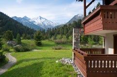Meribel-Skiort während des Sommers Lizenzfreie Stockfotografie