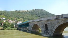Meric river old bridge. Edirne meric river Royalty Free Stock Photo