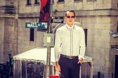 Merican Businessman on Wall Street Stock Photography
