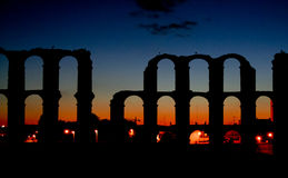 Merida Aqueduct sunset Royalty Free Stock Photography