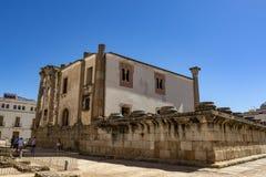 Backside of Temple of Diana, Merida, Spain. Merida, Badajoz, Spain, May 2015 : Diana`s temple, roman heritage in Merida, Spain royalty free stock image