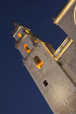 Merida Cathedral exterior en la noche imágenes de archivo libres de regalías