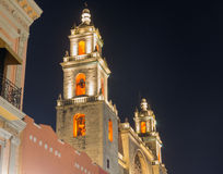 MERIDA CATHEDRAL AT NIGHT Stock Images