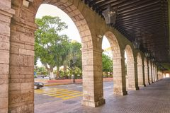 Merida city arcade arcs of Yucatan Mexico Stock Images