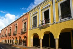 Merida city arcade arcs of Yucatan Mexico Stock Photo